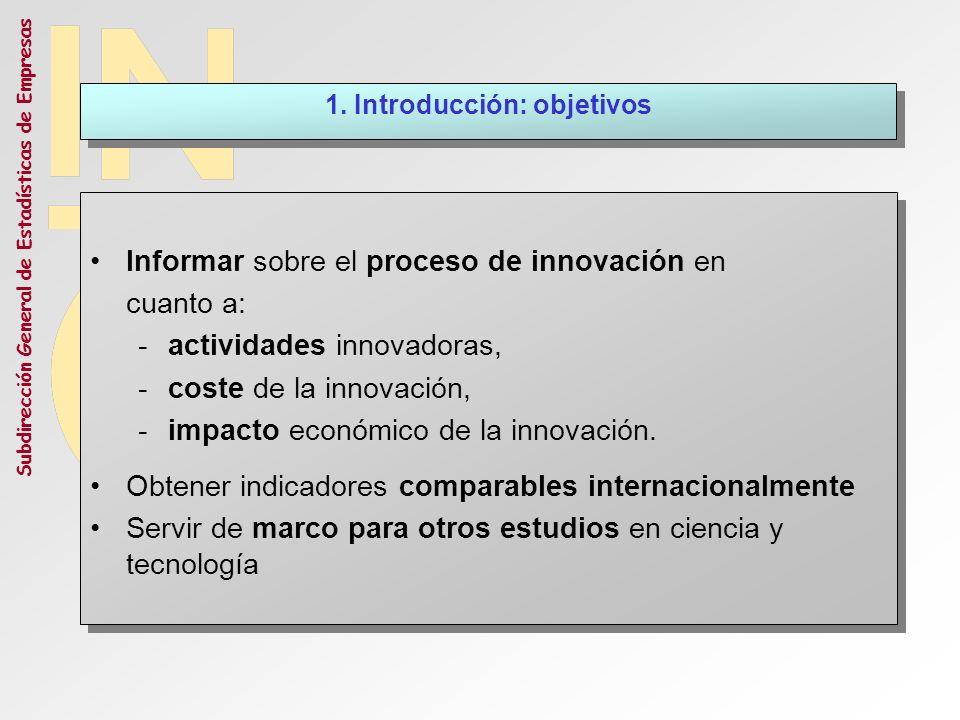 Subdirección General de Estadísticas de Empresas Informar sobre el proceso de innovación en cuanto a: -actividades innovadoras, -coste de la innovació