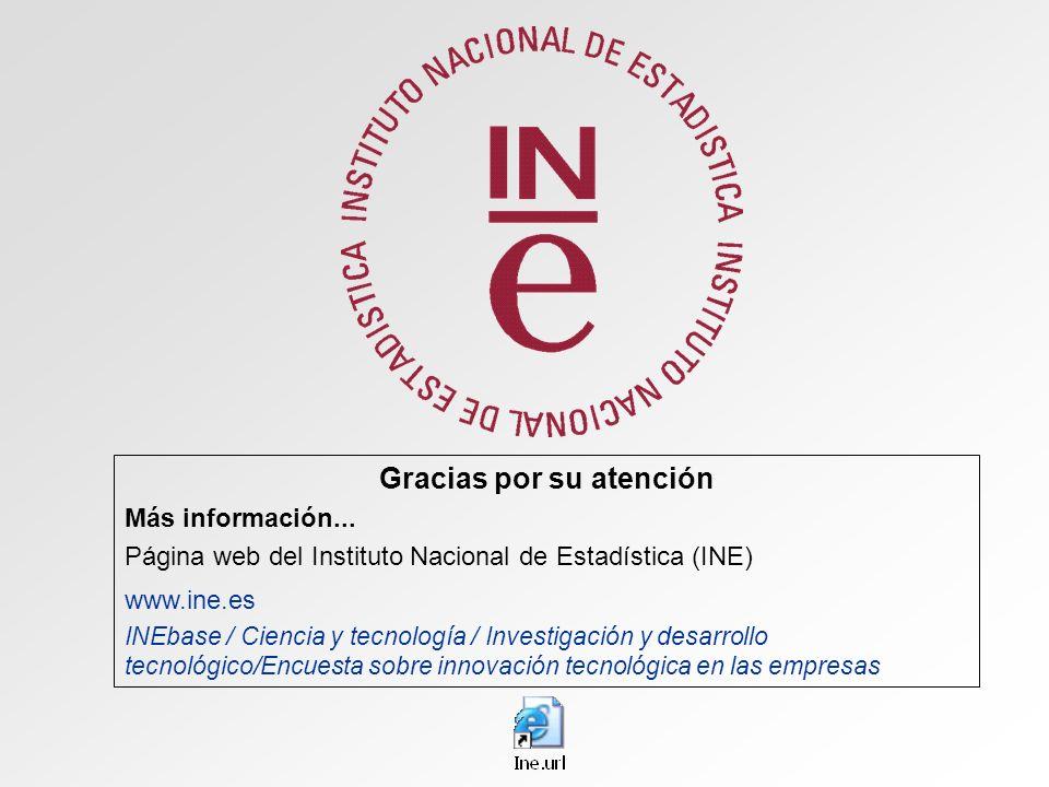 Gracias por su atención Más información... Página web del Instituto Nacional de Estadística (INE) www.ine.es INEbase / Ciencia y tecnología / Investig