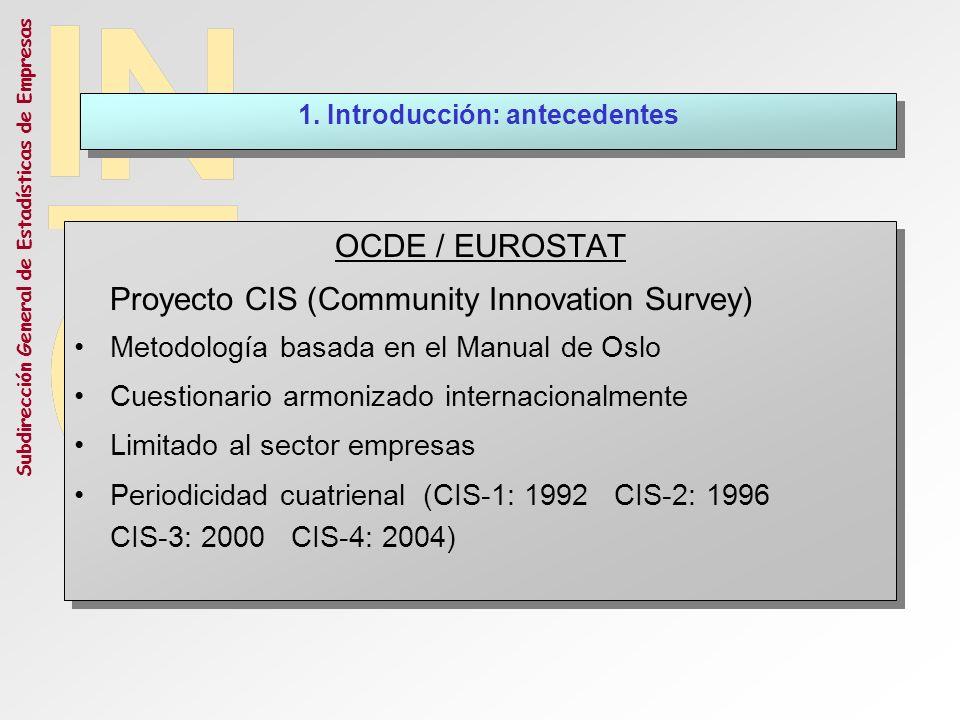 Subdirección General de Estadísticas de Empresas ENCUESTA SOBRE INNOVACIÓN EN ESPAÑA Estudio piloto 1992 (resultados incluidos en CIS-1) Primera edición EIT 1994 Carácter bienal hasta 2000 Coordinación con la Estadística de I+D a partir de 2002 Datos básicos anuales A partir de 2005 CCAA A partir de 2008 Nueva clasificación: CNAE 2009 ENCUESTA SOBRE INNOVACIÓN EN ESPAÑA Estudio piloto 1992 (resultados incluidos en CIS-1) Primera edición EIT 1994 Carácter bienal hasta 2000 Coordinación con la Estadística de I+D a partir de 2002 Datos básicos anuales A partir de 2005 CCAA A partir de 2008 Nueva clasificación: CNAE 2009 1.