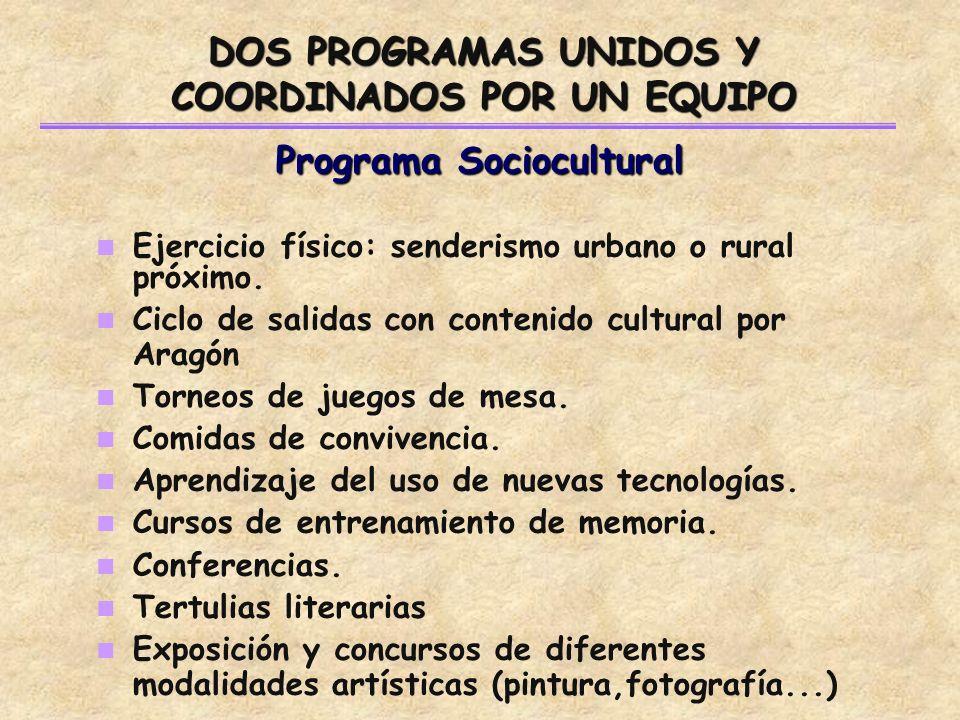 Programa Sociocultural Ejercicio físico: senderismo urbano o rural próximo.