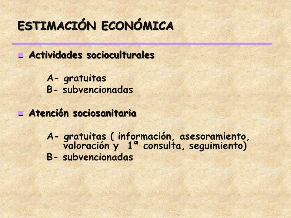ESTIMACIÓN ECONÓMICA Actividades socioculturales Actividades socioculturales A- gratuitas B- subvencionadas Atención sociosanitaria Atención sociosanitaria A- gratuitas ( información, asesoramiento, valoración y 1ª consulta, seguimiento) B- subvencionadas