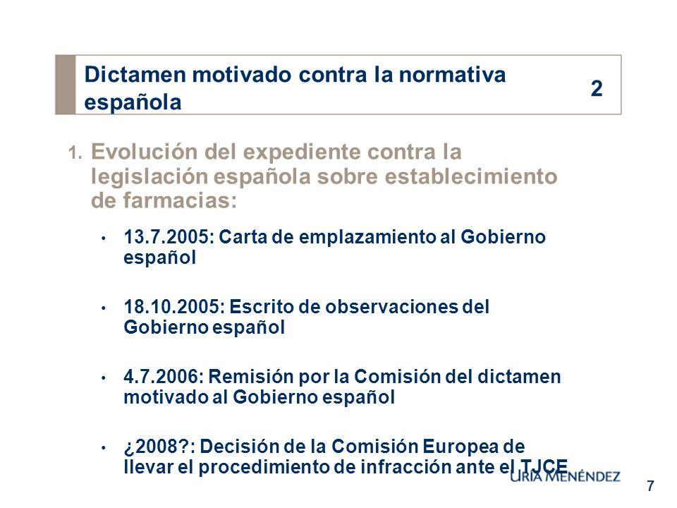 7 1. Evolución del expediente contra la legislación española sobre establecimiento de farmacias: 13.7.2005: Carta de emplazamiento al Gobierno español