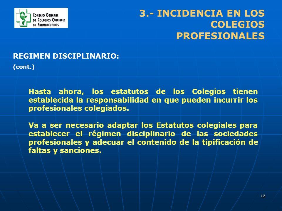 12 3.- INCIDENCIA EN LOS COLEGIOS PROFESIONALES Hasta ahora, los estatutos de los Colegios tienen establecida la responsabilidad en que pueden incurrir los profesionales colegiados.
