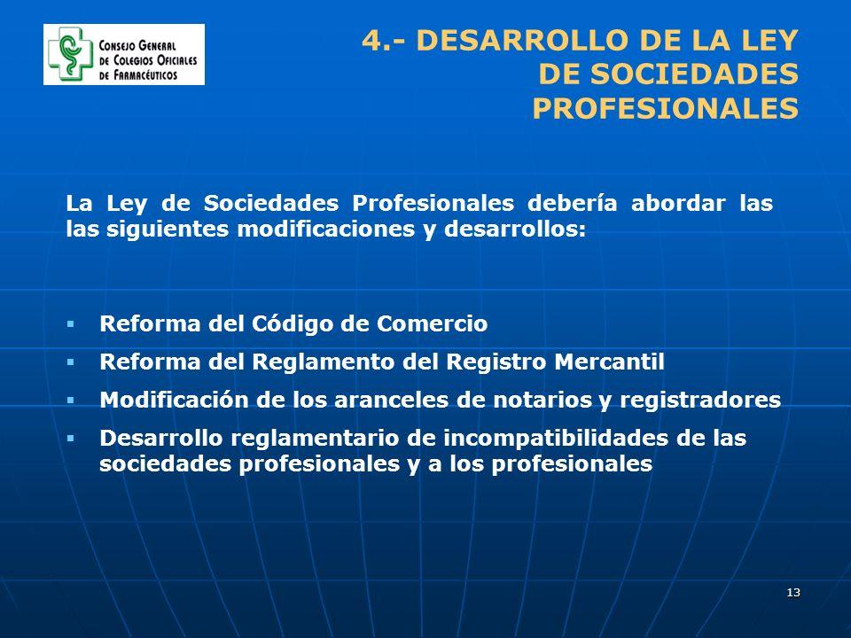13 4.- DESARROLLO DE LA LEY DE SOCIEDADES PROFESIONALES La Ley de Sociedades Profesionales debería abordar las las siguientes modificaciones y desarro
