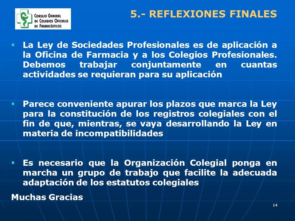 14 5.- REFLEXIONES FINALES La Ley de Sociedades Profesionales es de aplicación a la Oficina de Farmacia y a los Colegios Profesionales. Debemos trabaj