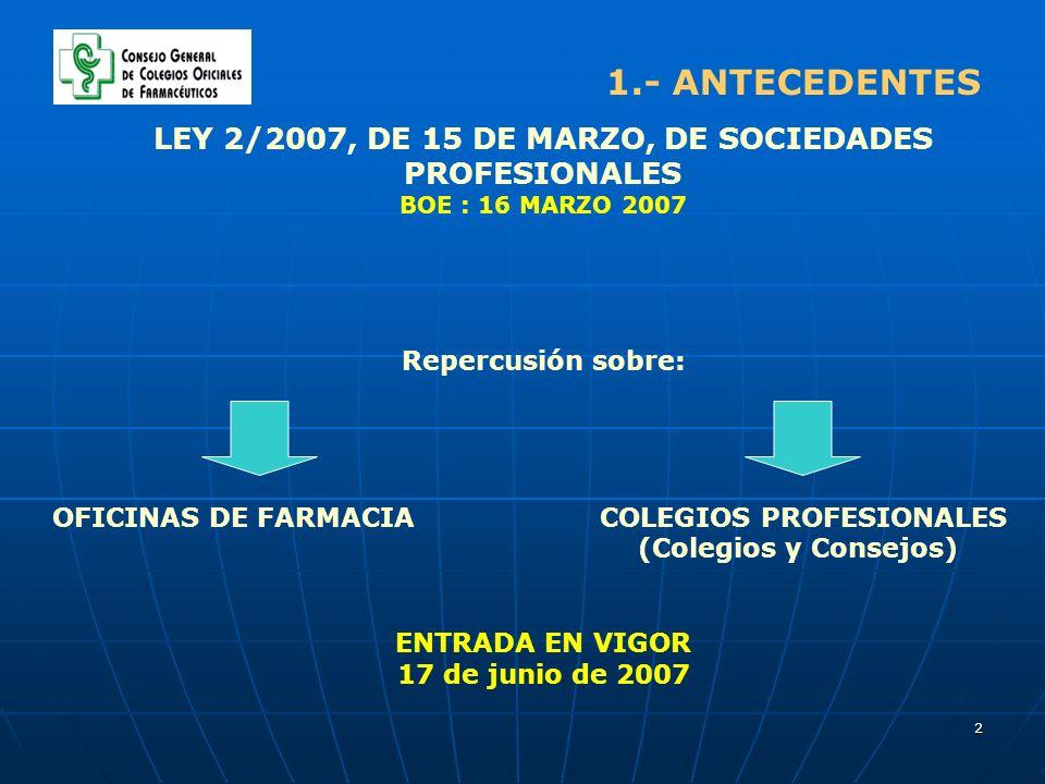 2 LEY 2/2007, DE 15 DE MARZO, DE SOCIEDADES PROFESIONALES BOE : 16 MARZO 2007 Repercusión sobre: OFICINAS DE FARMACIA COLEGIOS PROFESIONALES (Colegios y Consejos) ENTRADA EN VIGOR 17 de junio de 2007 1.- ANTECEDENTES