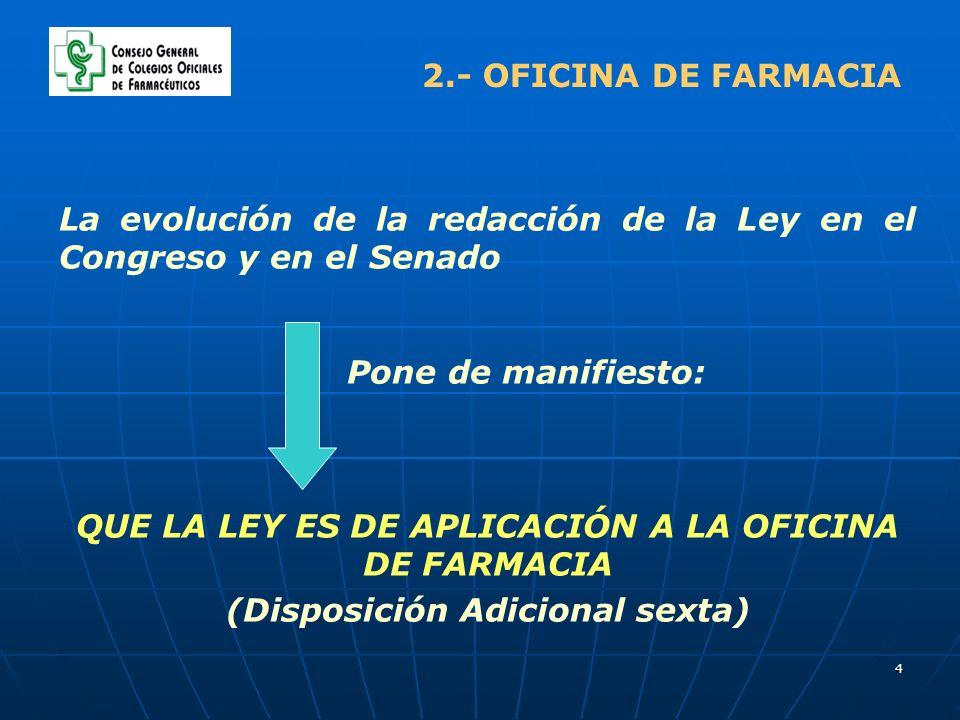4 2.- OFICINA DE FARMACIA La evolución de la redacción de la Ley en el Congreso y en el Senado Pone de manifiesto: QUE LA LEY ES DE APLICACIÓN A LA OF