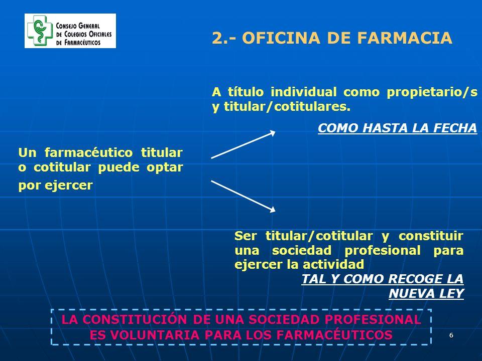 6 2.- OFICINA DE FARMACIA Un farmacéutico titular o cotitular puede optar por ejercer A título individual como propietario/s y titular/cotitulares. CO