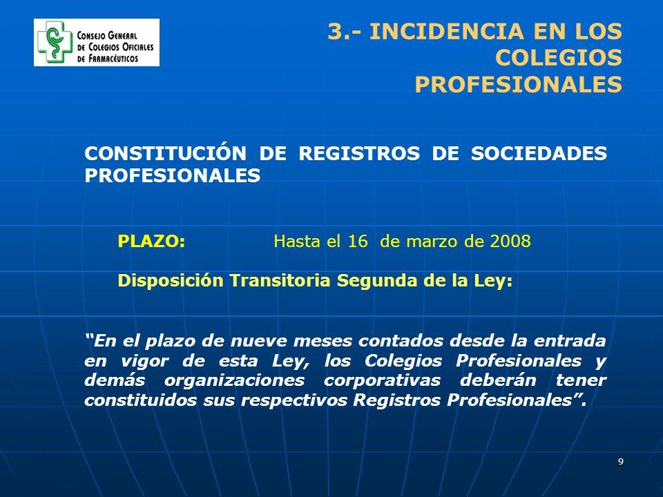 9 3.- INCIDENCIA EN LOS COLEGIOS PROFESIONALES CONSTITUCIÓN DE REGISTROS DE SOCIEDADES PROFESIONALES PLAZO: Hasta el 16 de marzo de 2008 Disposición T