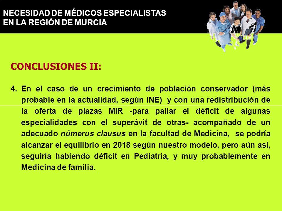 NECESIDAD DE MÉDICOS ESPECIALISTAS EN LA REGIÓN DE MURCIA CONCLUSIONES II: 4.En el caso de un crecimiento de población conservador (más probable en la