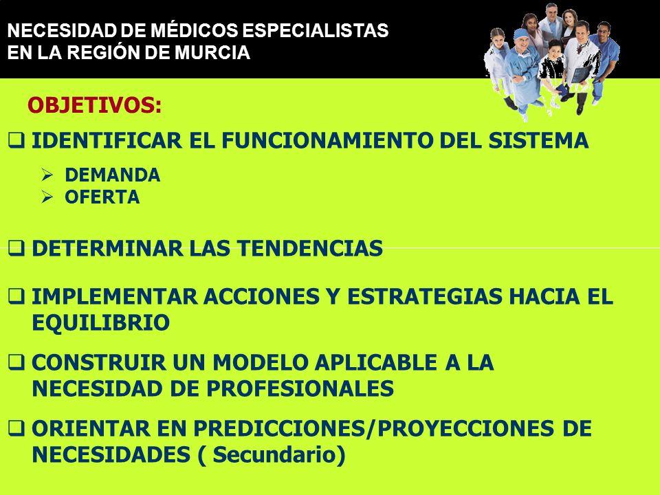 NECESIDAD DE MÉDICOS ESPECIALISTAS EN LA REGIÓN DE MURCIA IDENTIFICAR EL FUNCIONAMIENTO DEL SISTEMA DEMANDA OFERTA DETERMINAR LAS TENDENCIAS IMPLEMENTAR ACCIONES Y ESTRATEGIAS HACIA EL EQUILIBRIO CONSTRUIR UN MODELO APLICABLE A LA NECESIDAD DE PROFESIONALES ORIENTAR EN PREDICCIONES/PROYECCIONES DE NECESIDADES ( Secundario) OBJETIVOS: