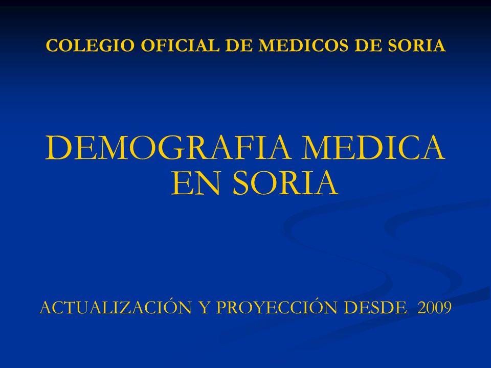 COLEGIO OFICIAL DE MEDICOS DE SORIA DEMOGRAFIA MEDICA EN SORIA ACTUALIZACIÓN Y PROYECCIÓN DESDE 2009
