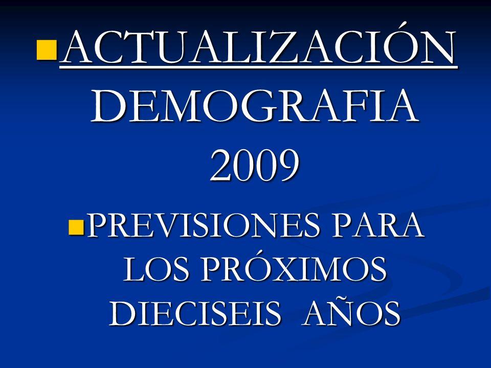 ACTUALIZACIÓN DEMOGRAFIA 2009 ACTUALIZACIÓN DEMOGRAFIA 2009 PREVISIONES PARA LOS PRÓXIMOS DIECISEIS AÑOS PREVISIONES PARA LOS PRÓXIMOS DIECISEIS AÑOS