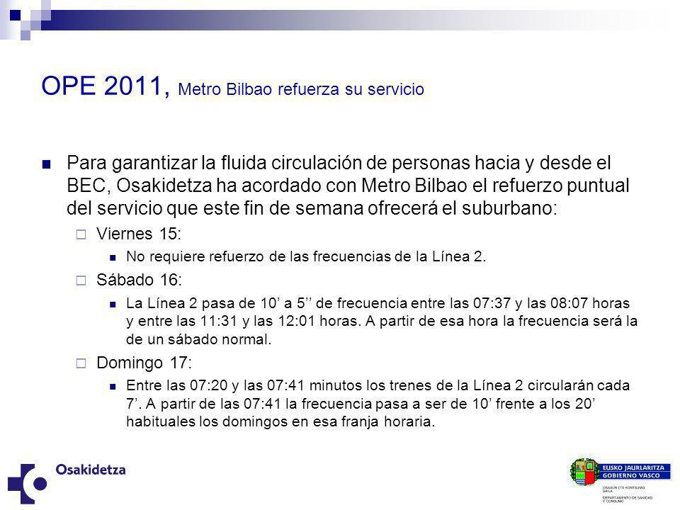 OPE 2011, Metro Bilbao refuerza su servicio Para garantizar la fluida circulación de personas hacia y desde el BEC, Osakidetza ha acordado con Metro B
