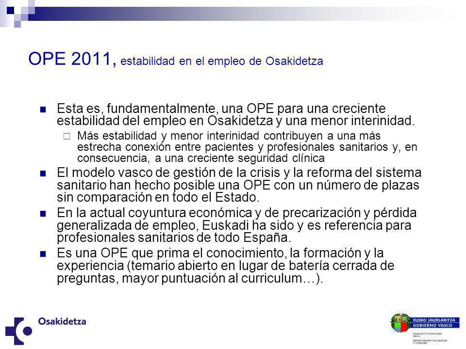 OPE 2011, estabilidad en el empleo de Osakidetza Esta es, fundamentalmente, una OPE para una creciente estabilidad del empleo en Osakidetza y una meno