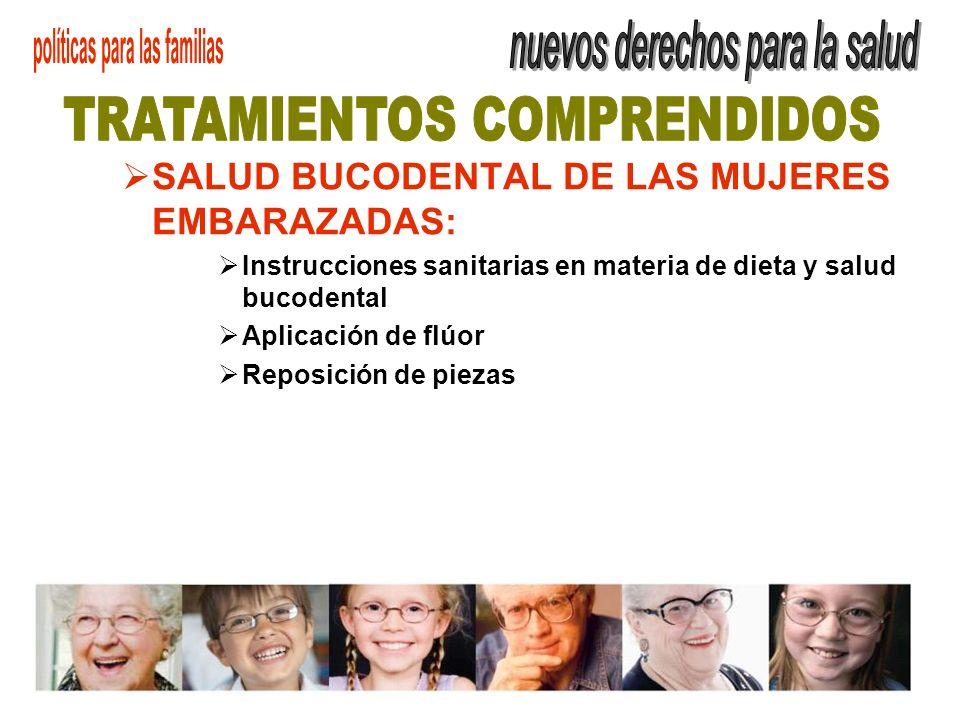 SALUD BUCODENTAL DE LAS MUJERES EMBARAZADAS: Instrucciones sanitarias en materia de dieta y salud bucodental Aplicación de flúor Reposición de piezas