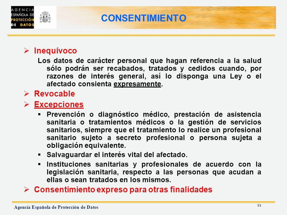 21 Agencia Española de Protección de Datos CONSENTIMIENTO Inequívoco Los datos de carácter personal que hagan referencia a la salud sólo podrán ser re