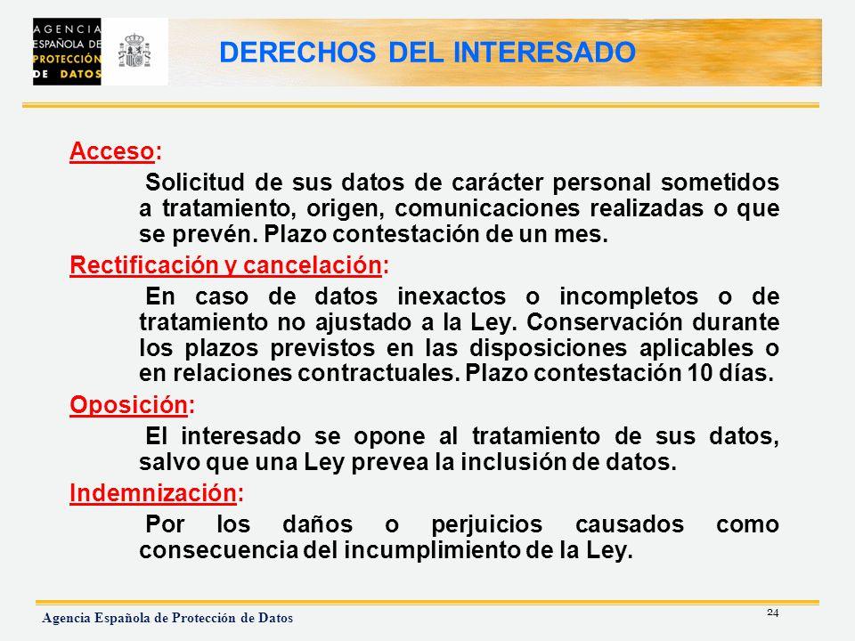 24 Agencia Española de Protección de Datos DERECHOS DEL INTERESADO Acceso: Solicitud de sus datos de carácter personal sometidos a tratamiento, origen