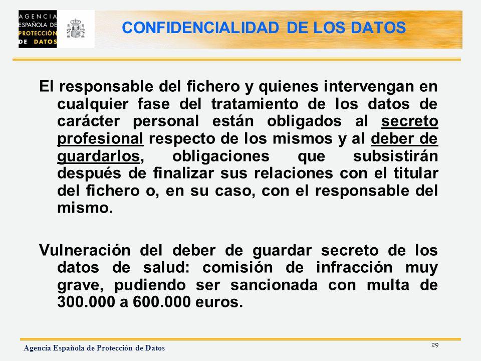 29 Agencia Española de Protección de Datos CONFIDENCIALIDAD DE LOS DATOS El responsable del fichero y quienes intervengan en cualquier fase del tratam