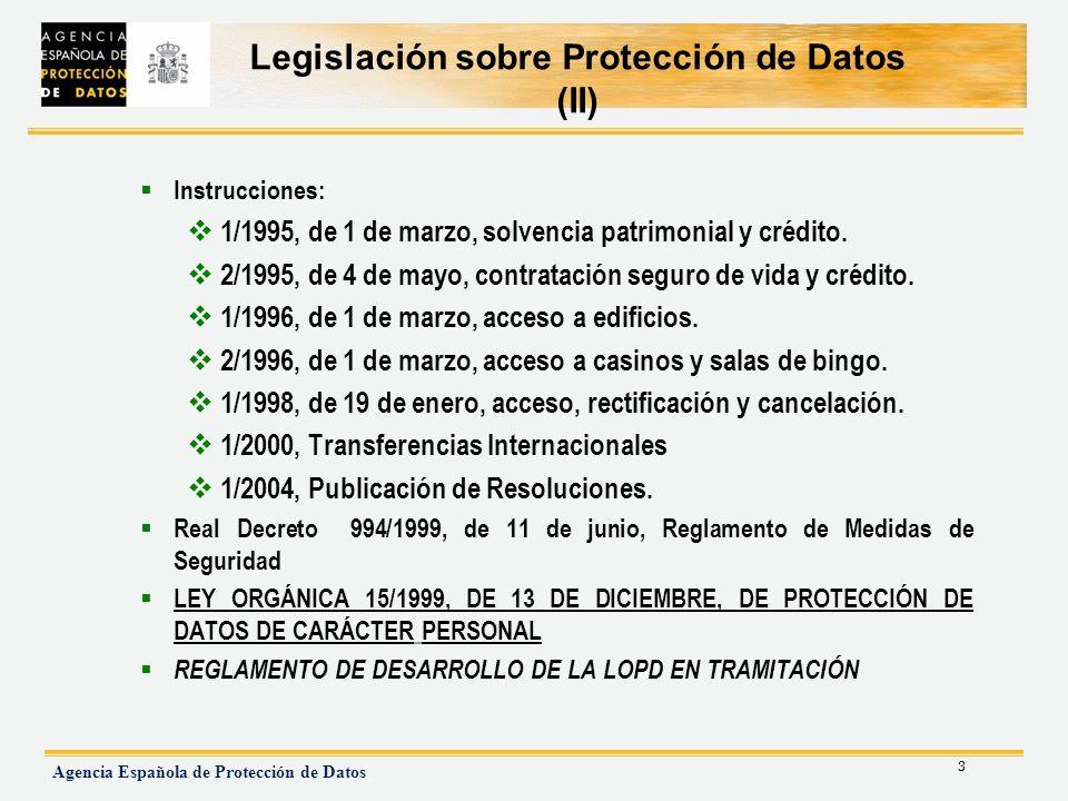 4 Agencia Española de Protección de Datos Legislación sobre Protección de Datos (III) Constitución Europea: -Artículo 50 - Carta de Derechos Fundamentales Ley 41/2002, de 14 de noviembre, reguladora de la autonomía del paciente y de derechos y obligaciones en materia de información y documentación clínica.