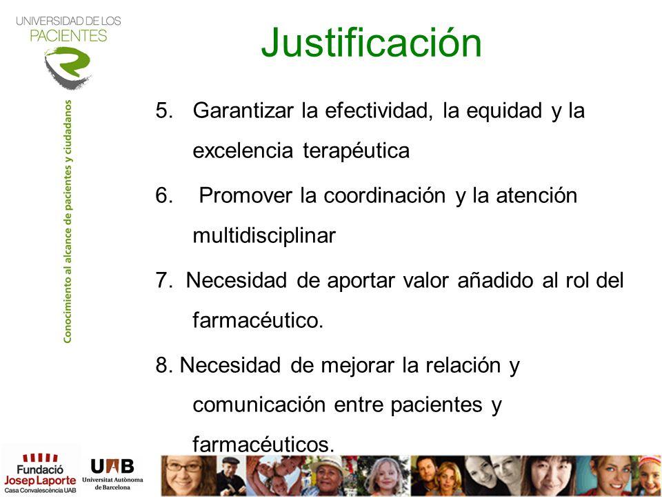 Justificación 5.Garantizar la efectividad, la equidad y la excelencia terapéutica 6. Promover la coordinación y la atención multidisciplinar 7. Necesi