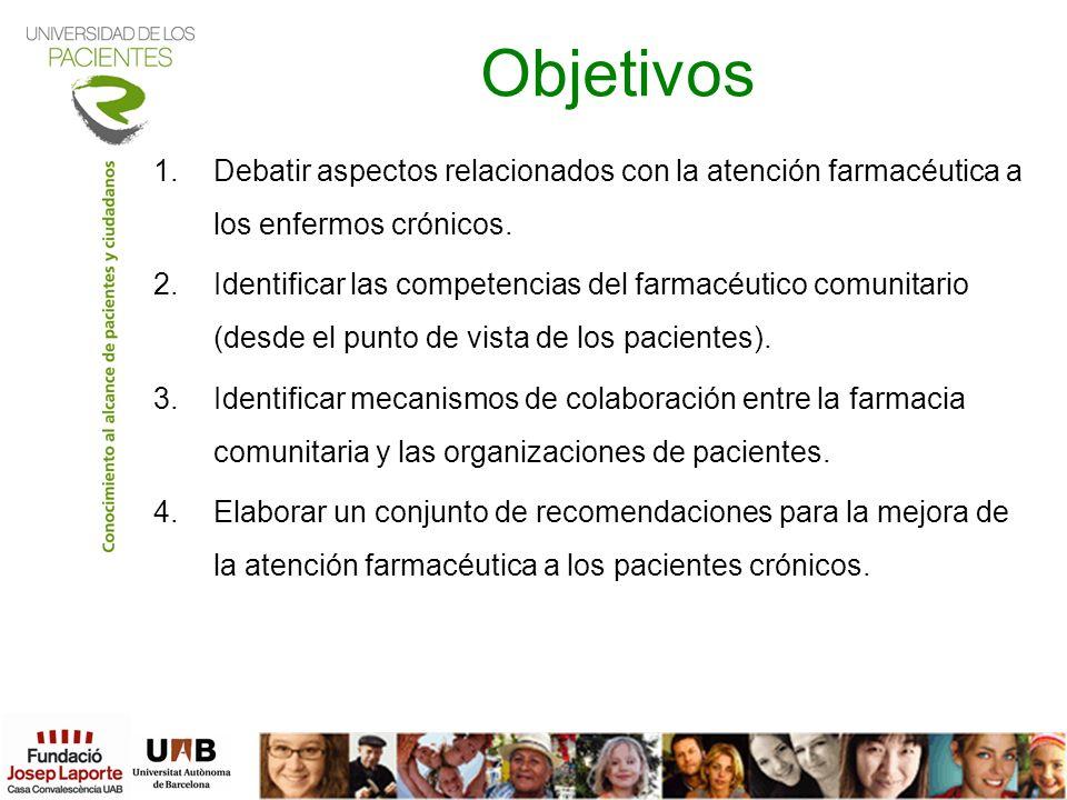 Objetivos 1.Debatir aspectos relacionados con la atención farmacéutica a los enfermos crónicos. 2.Identificar las competencias del farmacéutico comuni