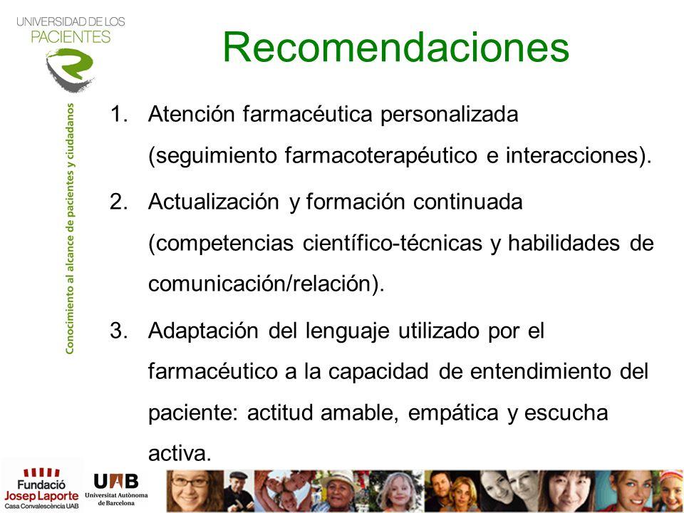 Recomendaciones 1.Atención farmacéutica personalizada (seguimiento farmacoterapéutico e interacciones). 2.Actualización y formación continuada (compet