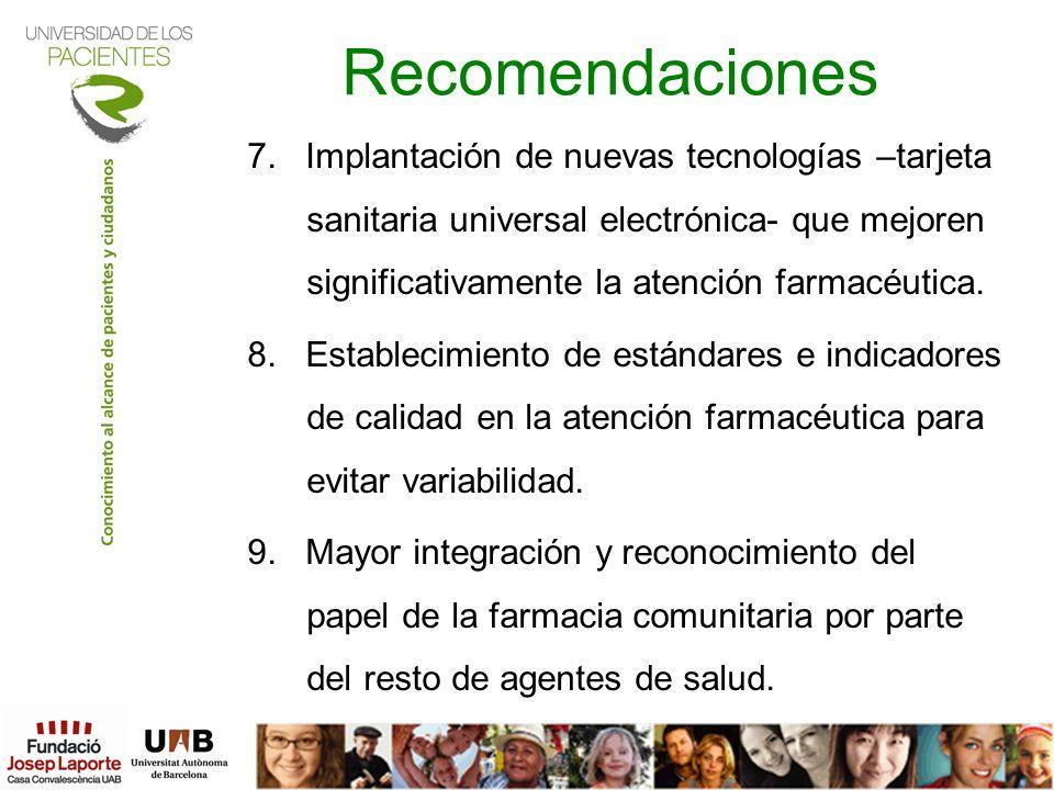 Recomendaciones 7. Implantación de nuevas tecnologías –tarjeta sanitaria universal electrónica- que mejoren significativamente la atención farmacéutic