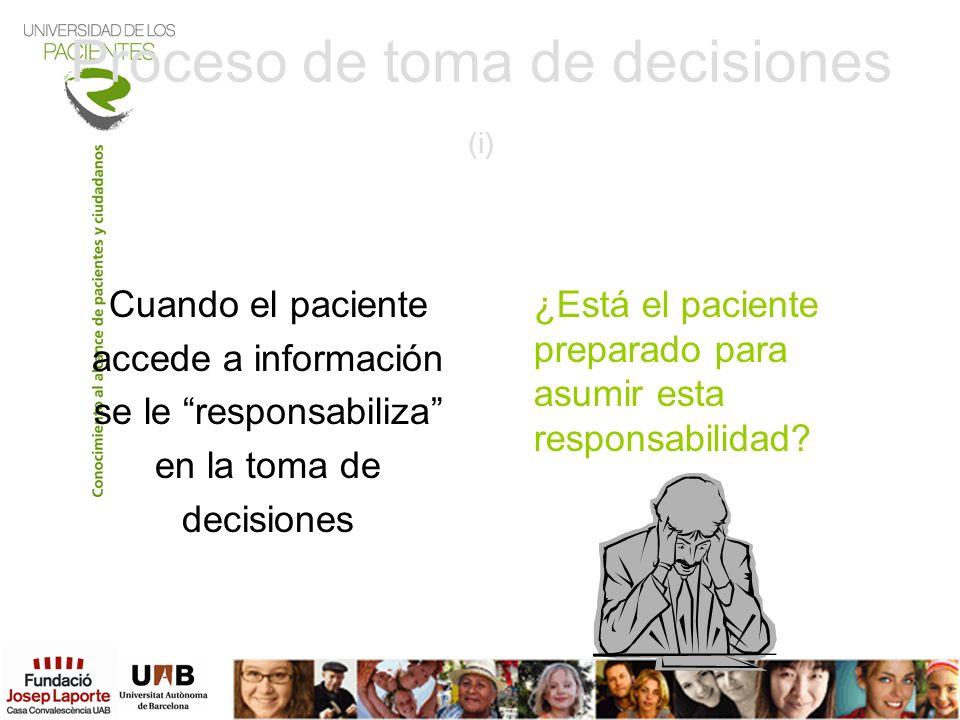 Proceso de toma de decisiones (i) Cuando el paciente accede a información se le responsabiliza en la toma de decisiones ¿Está el paciente preparado pa