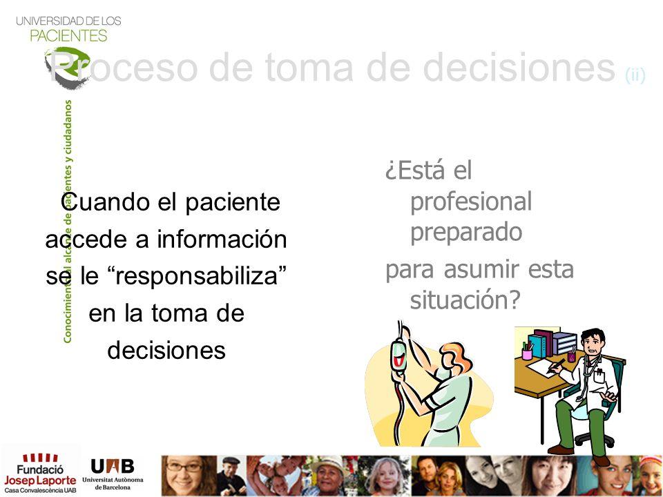 Proceso de toma de decisiones (ii) Cuando el paciente accede a información se le responsabiliza en la toma de decisiones ¿Está el profesional preparad
