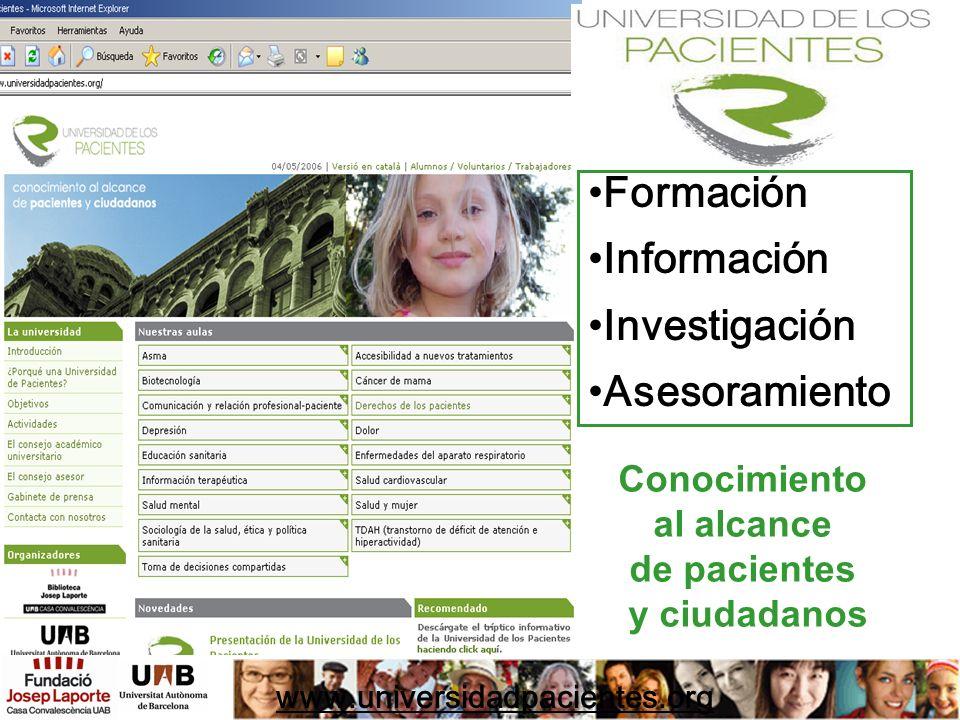 Formación Información Investigación Asesoramiento www.universidadpacientes.org Conocimiento al alcance de pacientes y ciudadanos