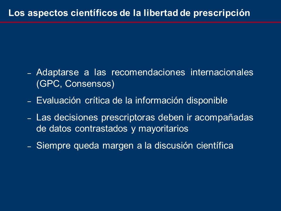 – Adaptarse a las recomendaciones internacionales (GPC, Consensos) – Evaluación crítica de la información disponible – Las decisiones prescriptoras deben ir acompañadas de datos contrastados y mayoritarios – Siempre queda margen a la discusión científica Los aspectos científicos de la libertad de prescripción