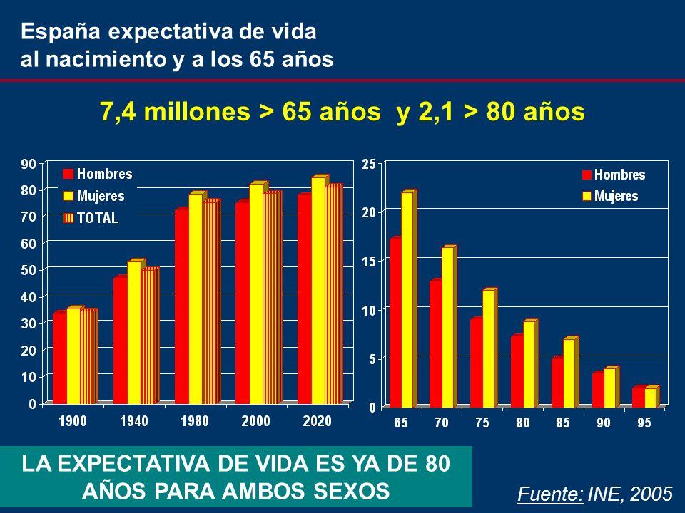 Fuente: INE, 2005 7,4 millones > 65 años y 2,1 > 80 años LA EXPECTATIVA DE VIDA ES YA DE 80 AÑOS PARA AMBOS SEXOS España expectativa de vida al nacimiento y a los 65 años