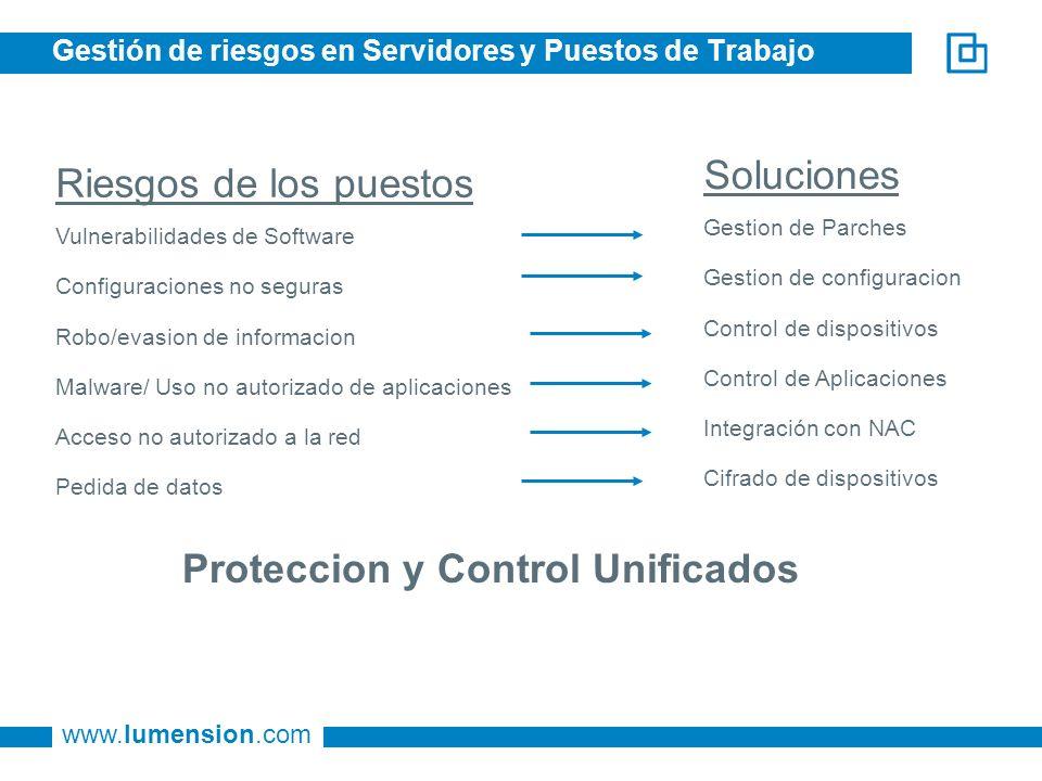 www.lumension.com Gestión de riesgos en Servidores y Puestos de Trabajo Riesgos de los puestos Vulnerabilidades de Software Configuraciones no seguras