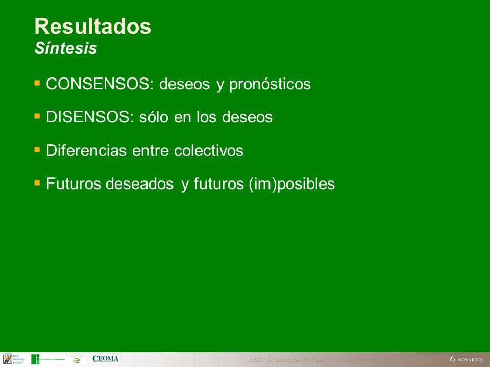 FSIS | El futuro del SNS según los ciudadanos | Business Use Only Resultados Síntesis CONSENSOS: deseos y pronósticos DISENSOS: sólo en los deseos Diferencias entre colectivos Futuros deseados y futuros (im)posibles