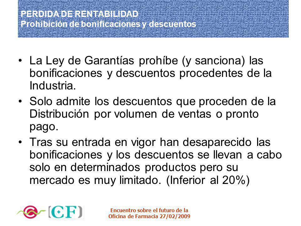 Encuentro sobre el futuro de la Oficina de Farmacia 27/02/2009 PERDIDA DE RENTABILIDAD Prohibición de bonificaciones y descuentos La Ley de Garantías