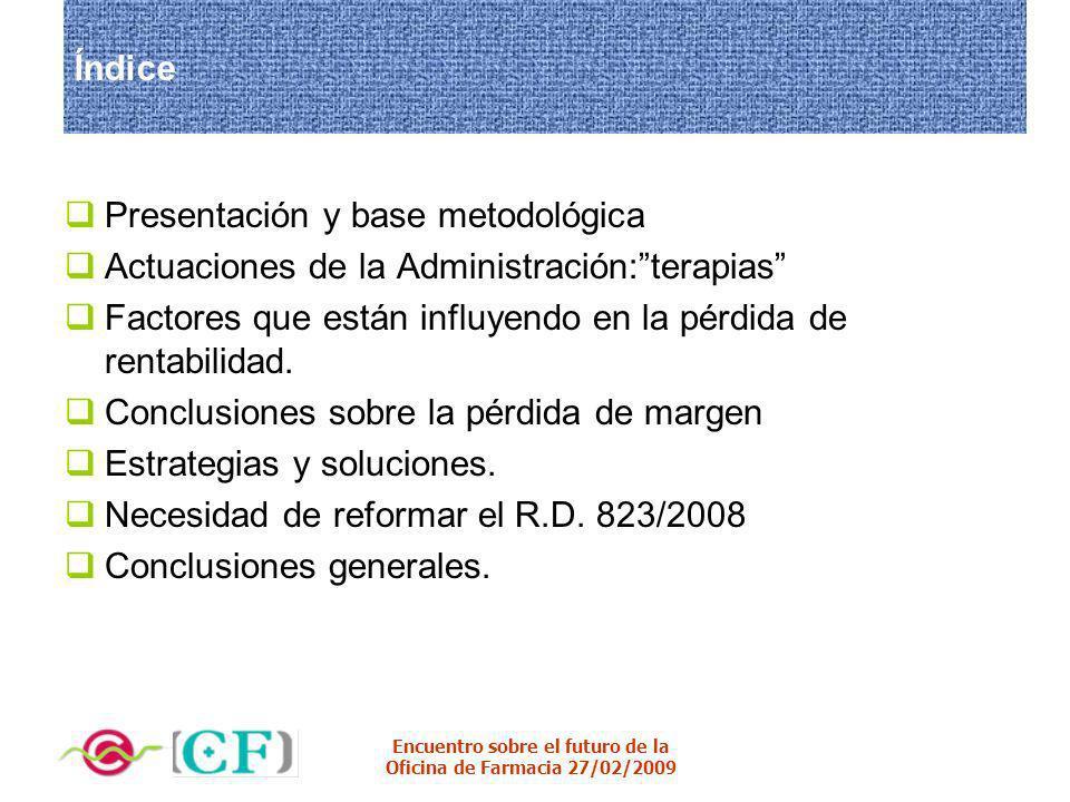 Encuentro sobre el futuro de la Oficina de Farmacia 27/02/2009 Índice Presentación y base metodológica Actuaciones de la Administración:terapias Facto