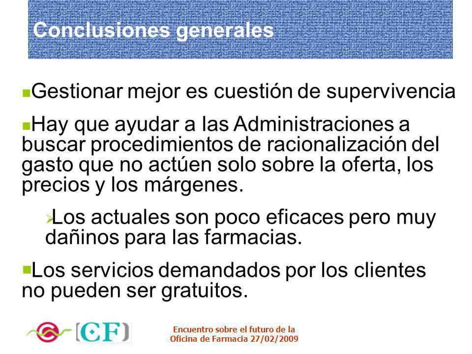 Encuentro sobre el futuro de la Oficina de Farmacia 27/02/2009 Conclusiones generales Gestionar mejor es cuestión de supervivencia Hay que ayudar a la