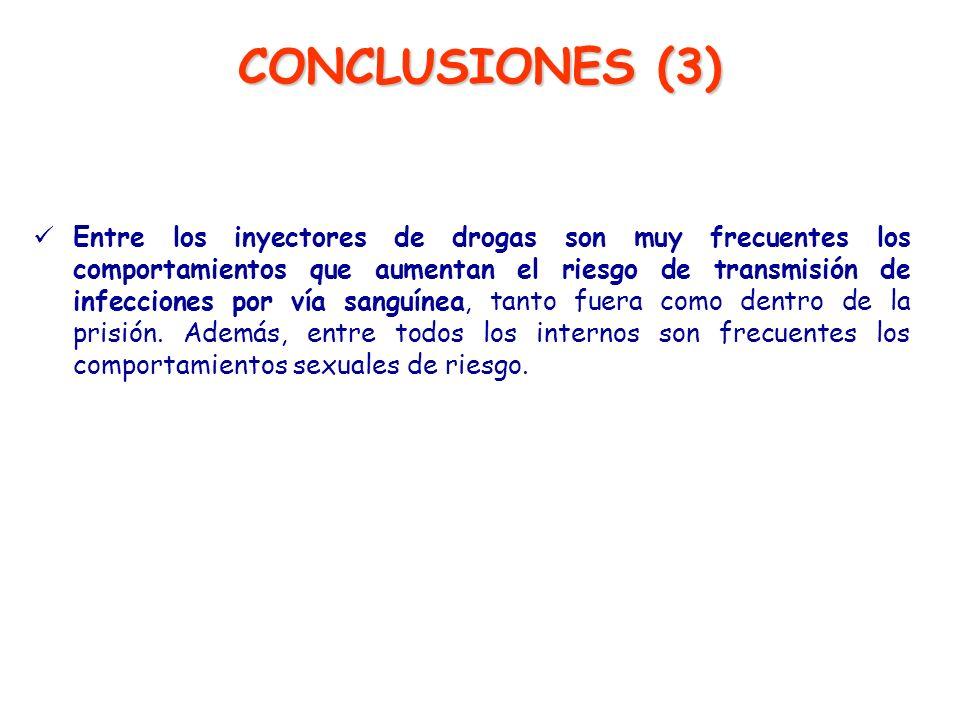 CONCLUSIONES (3) Entre los inyectores de drogas son muy frecuentes los comportamientos que aumentan el riesgo de transmisión de infecciones por vía sa