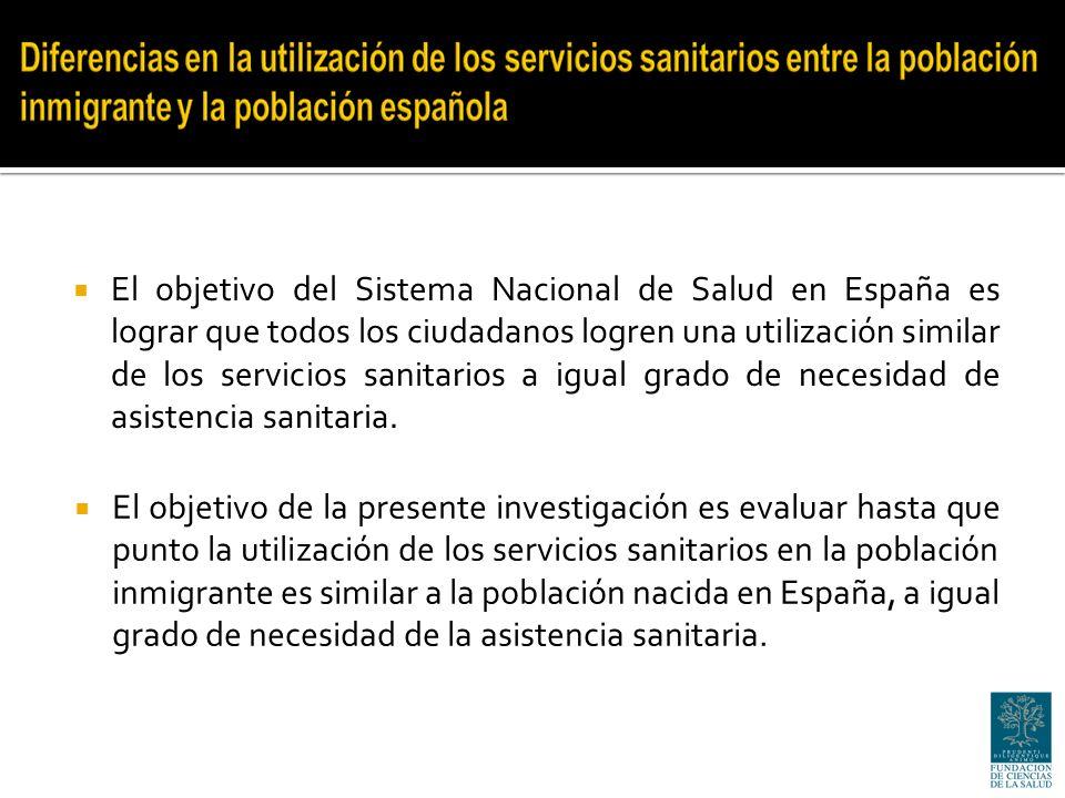 La consulta al médico general y la hospitalización constituyen los servicios sanitarios en los que se ha encontrado una menor diferencia en su frecuentación entre la población inmigrante y la población española.