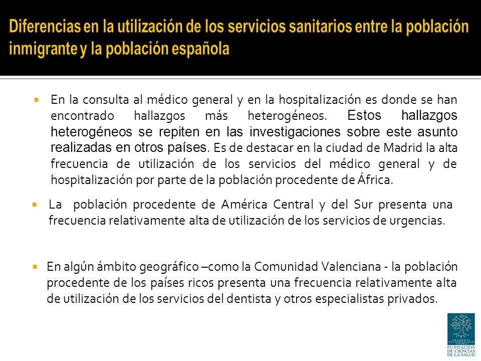 La población procedente de América Central y del Sur presenta una frecuencia relativamente alta de utilización de los servicios de urgencias.