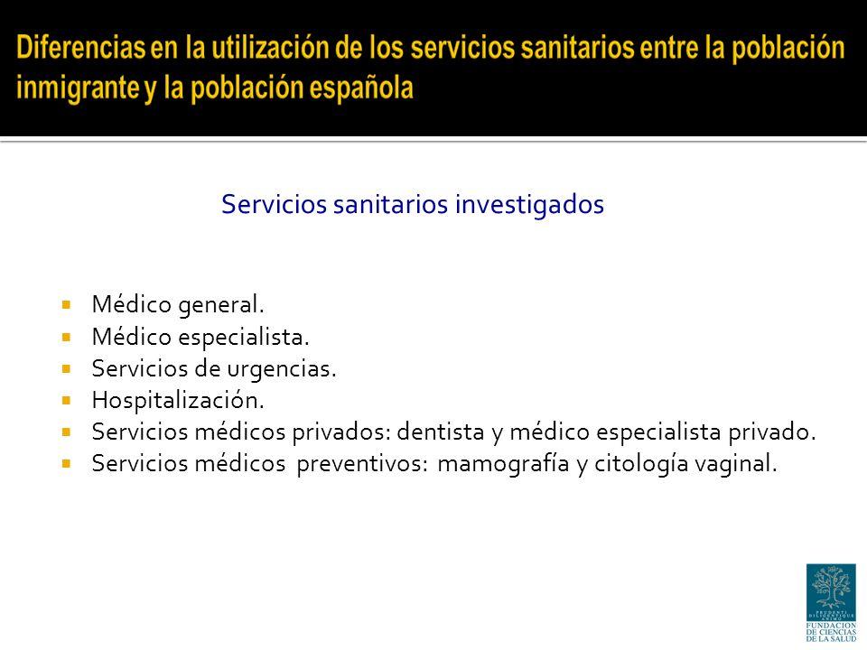 Médico general. Médico especialista. Servicios de urgencias.