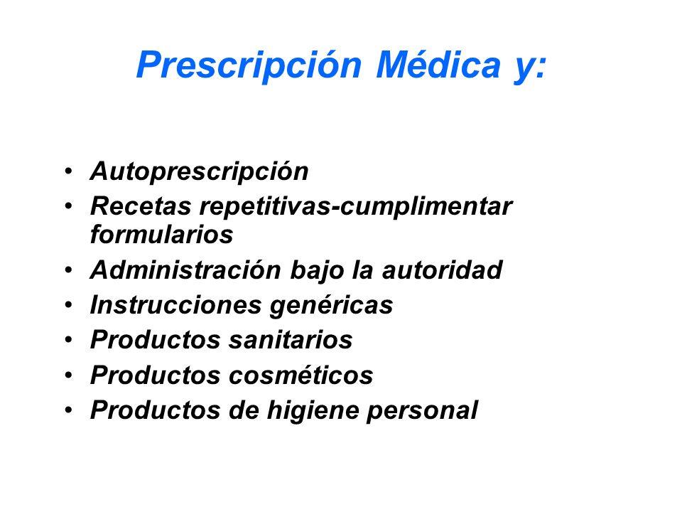 Prescripción Médica y: Autoprescripción Recetas repetitivas-cumplimentar formularios Administración bajo la autoridad Instrucciones genéricas Producto