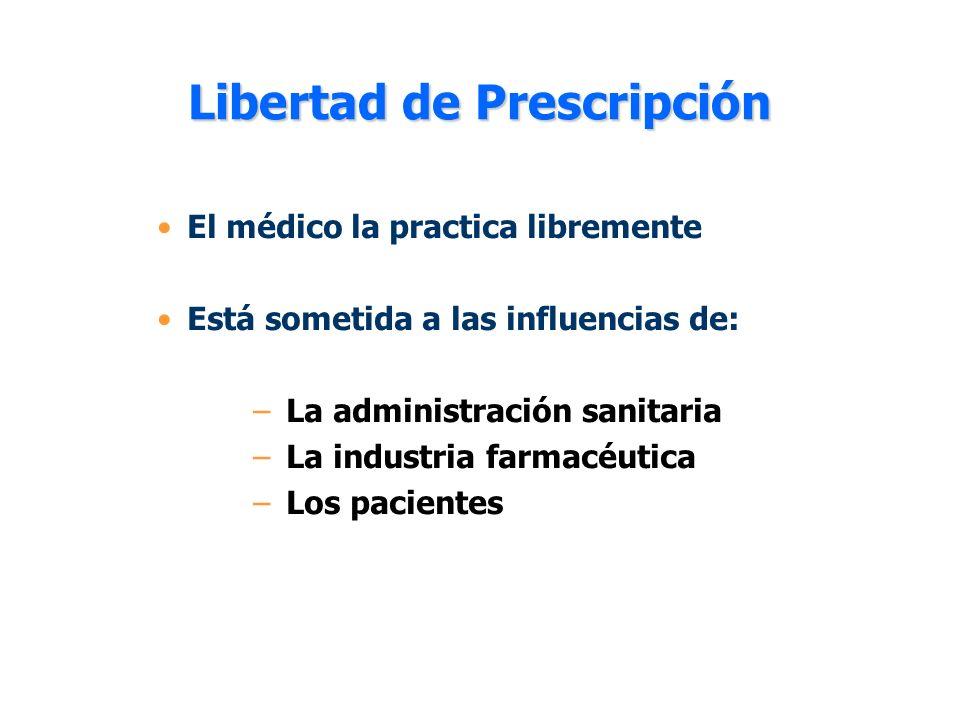 Libertad de Prescripción El médico la practica libremente Está sometida a las influencias de: – La administración sanitaria – La industria farmacéutic