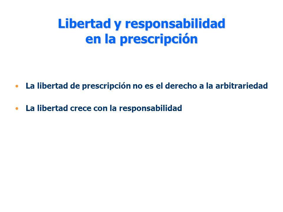 Libertad y responsabilidad en la prescripción La libertad de prescripción no es el derecho a la arbitrariedad La libertad crece con la responsabilidad