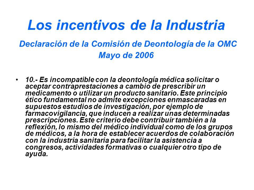 Los incentivos de la Industria Declaración de la Comisión de Deontología de la OMC Mayo de 2006 10.- Es incompatible con la deontología médica solicit