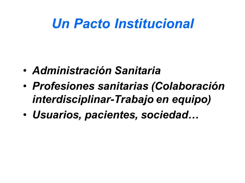 Un Pacto Institucional Administración Sanitaria Profesiones sanitarias (Colaboración interdisciplinar-Trabajo en equipo) Usuarios, pacientes, sociedad