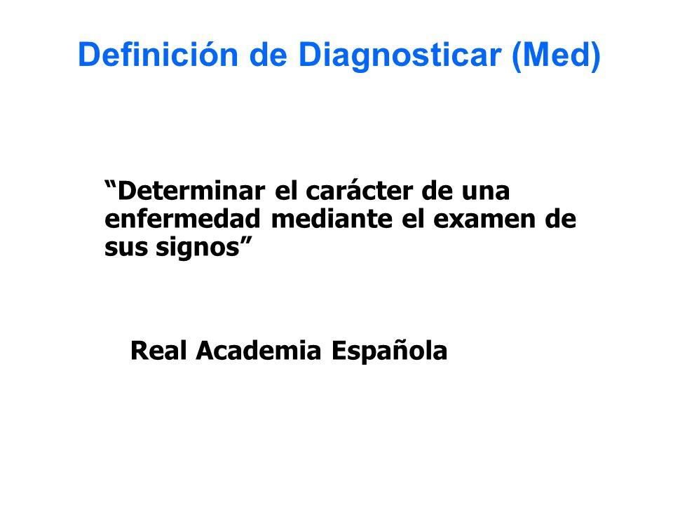 Determinar el carácter de una enfermedad mediante el examen de sus signos Real Academia Española Definición de Diagnosticar (Med)