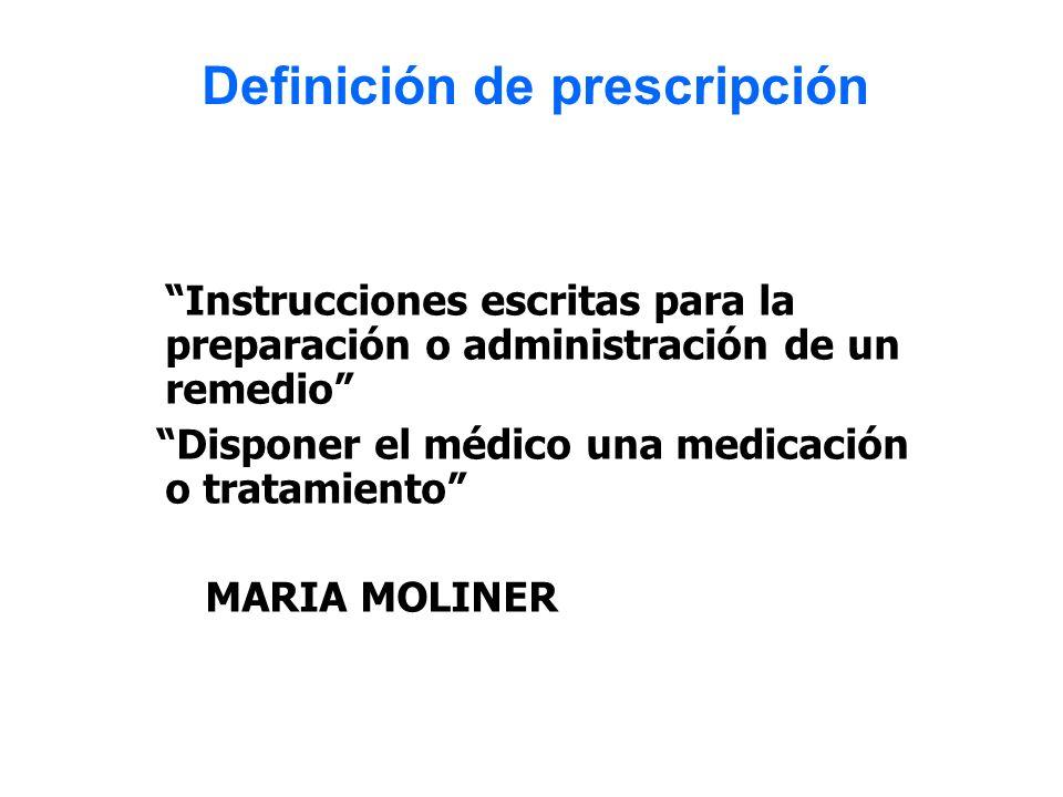 Instrucciones escritas para la preparación o administración de un remedio Disponer el médico una medicación o tratamiento MARIA MOLINER Definición de