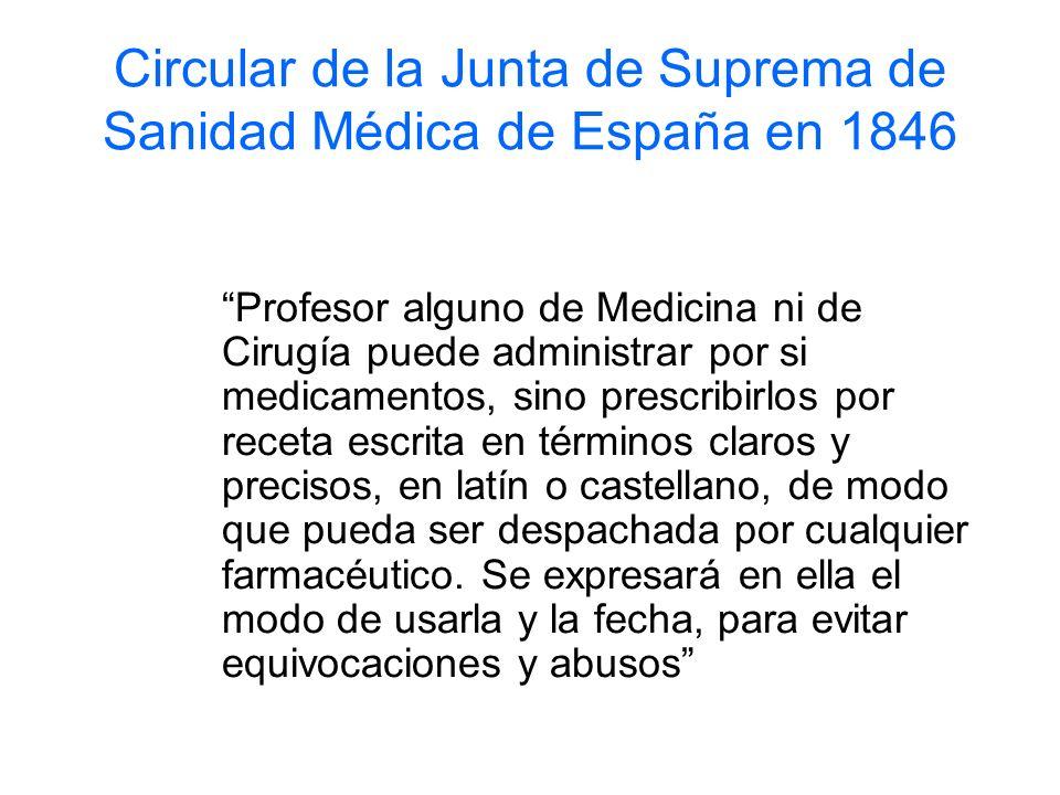 Circular de la Junta de Suprema de Sanidad Médica de España en 1846 Profesor alguno de Medicina ni de Cirugía puede administrar por si medicamentos, s